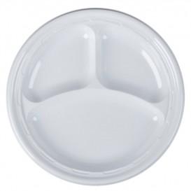 """Plastikteller PS """"Famous Impact"""" 3-Geteilt Weiße Ø260mm (500 Stück)"""