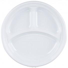 """Plastikteller PS """"Famous Impact"""" 3-Geteilt Weiße Ø230mm (500 Stück)"""