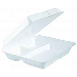 Verpackung EPS Menübox 3-G Abnehmbar Weiß 240x235mm (200 Stück)