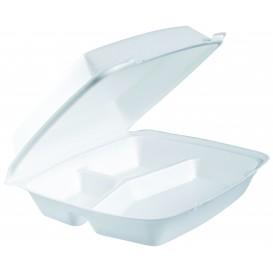 Verpackung EPS ExtraGroße 3-Geteilt Deckel Abnehmbar Weiß 240x235mm (200 Stück)