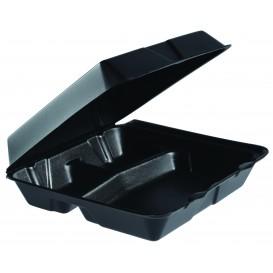Verpackung EPS MenuBox 3-Geteilt Schwarz 240x235mm (100 Stück)