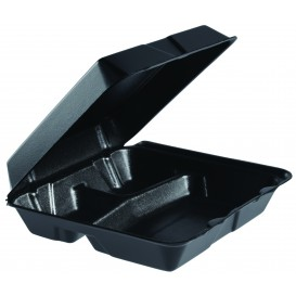 Verpackung EPS Große 3-Geteilt Deckel Abnehmbar Schwarz 240x235mm (100 Stück)