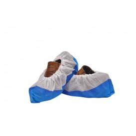 Überschuhe Polypropylen weiß mit Rutschhemmender Sohle Blau (50 Stück)
