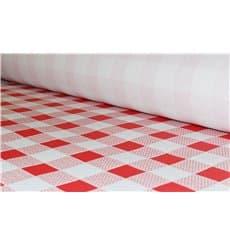 Mantel de Papel Rollo Cuadros Rojos 1x100m. 40g (1 Ud)