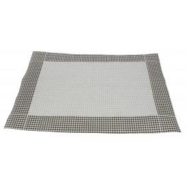 """Tischsets Papier 30x40cm """"Hahnentrittmuster"""" Schwarz 50g (500 Stück)"""