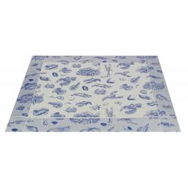 """Tischsets Papier 30x40cm """"Meeresfrüchten"""" Blau 50g (500 Stück)"""