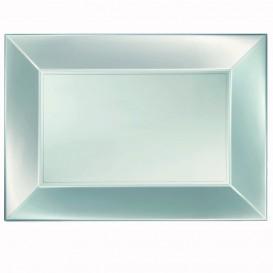 Plastiktablett Silber Nice Pearl PP 345x230mm (30 Stück)