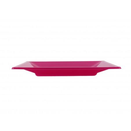 Viereckiger Plastikteller Flach Pink 230mm (750 Stück)