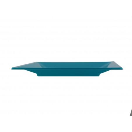 Viereckiger Plastikteller Flach Türkis 170mm (25 Stück)