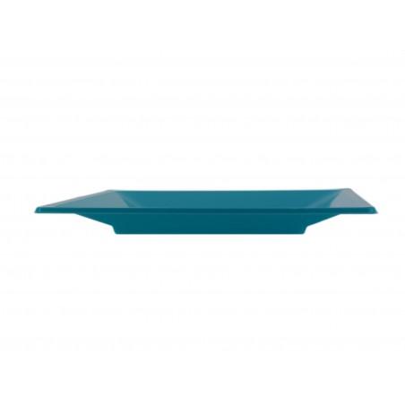 Viereckiger Plastikteller Flach Türkis 230mm (750 Stück)