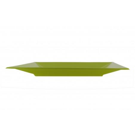 Viereckiger Plastikteller Flach Pistazie 230mm (3 Stück)