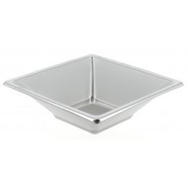 Viereckige Plastikschale Silber 12x12cm (25 Stück)
