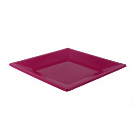 Viereckiger Plastikteller Flach Pink 170mm