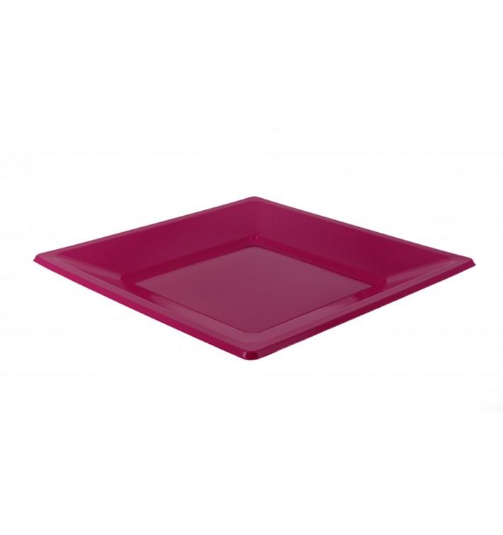Viereckiger Plastikteller Flach Pink 230mm (25 Stück)