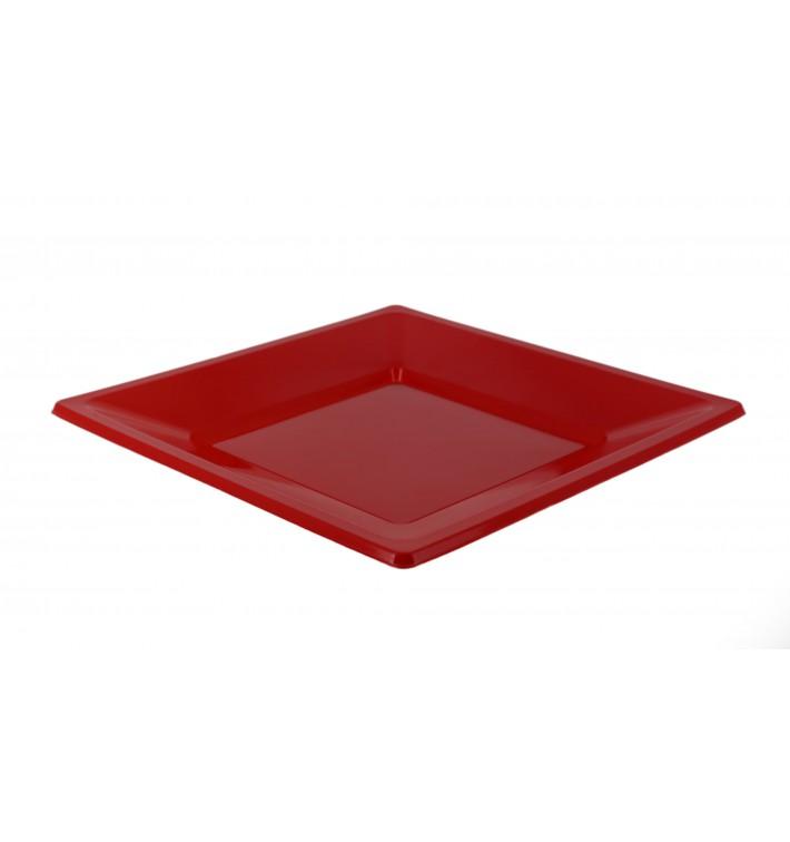 Viereckiger Plastikteller Flach Rot 230mm (25 Stück)