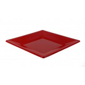 Viereckiger Plastikteller Flach Rot 230mm (750 Stück)