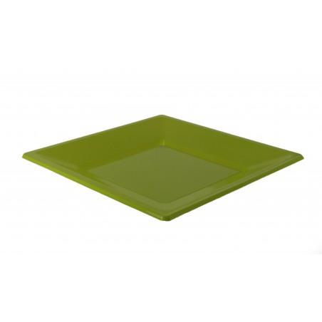 Viereckiger Plastikteller Flach Pistazie 170mm (5 Stück)