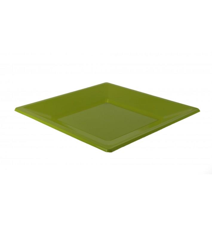 Viereckiger Plastikteller Flach Pistazie 170mm (300 Stück)