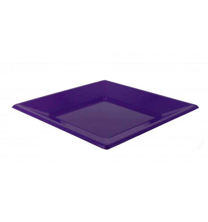 Viereckiger Plastikteller Flach Flieder 230mm (750 Stück)