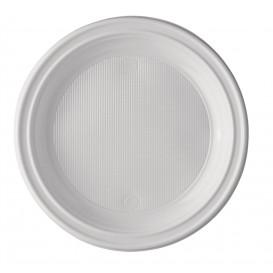Plastikteller PS 1-geteilt weiß 220mm (100 Stück)