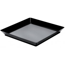"Plastiktablett ""Medium""Schwarz 13x13 cm (12 Stück)"