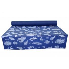 """Tischläufer Novotex Blau mit """"Meeresfrüchte"""" 1,2x48m 50g (6 Stück)"""