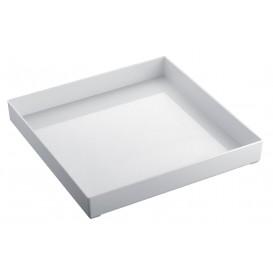 Serviertablett Plastik Tray Weiß 30x30cm (9 Stück)