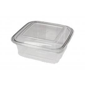 Transparente Dose mit Klappdeckel Viereckiger PET 750ml (100 Stück)