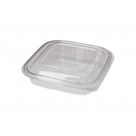 Transparente Dose mit Klappdeckel Viereckiger PET 250ml (100 Stück)
