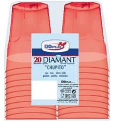 "Hartplastikbecher ""Diamant"" PS Rot Transp. Cristal 50ml (20 Stück)"