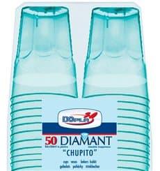 """Hartplastikbecher """"Diamant"""" PS Blau Transp. Cristal 50ml (50 Stück)"""