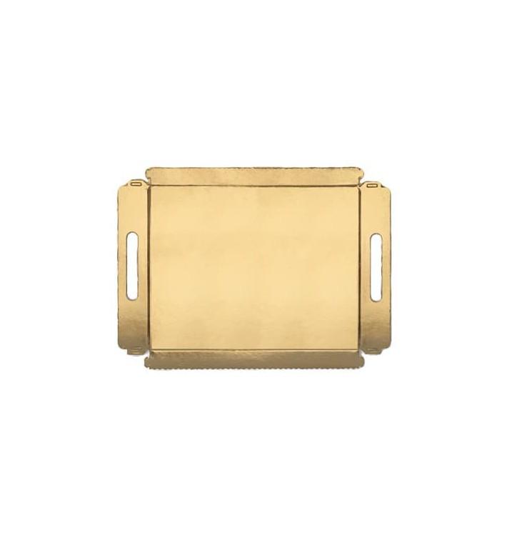 Papptablett gold mit Griffen 16x23cm (25 Stück)