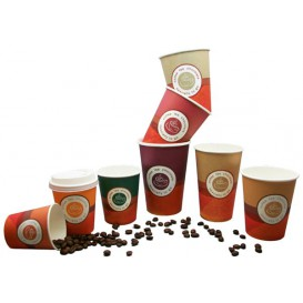 """Karton Kaffeebecher """"Specialty"""" + Deckel mit Loch to go 6Oz/180ml Ø7,0cm (1.000+1.000 Stück)"""