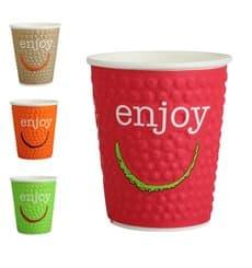 "Kaffeebecher Wellpappe mit Dekor ""Enjoy"" 12 Oz/360 ml Ø9,0cm (680 Stück)"