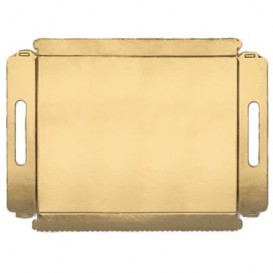 Papptablett gold mit Griffen 16x23cm (100 Stück)