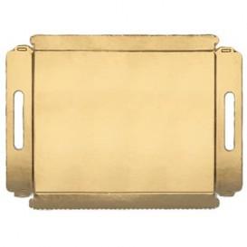 Papptablett gold mit Griffen 22x28cm (100 Stück)