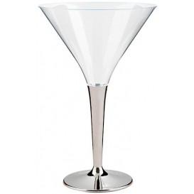 Cocktailglas Plastik mit Fuß silber 100ml (48 Stück)