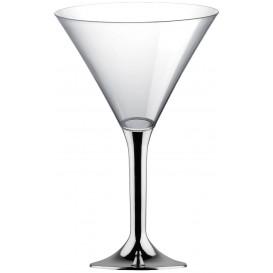 Martinigläser aus Plastik mit Silber Chrom Fuß 185ml (20 Stück)