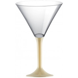 Martinigläser aus Plastik mit Creme Fuß 185ml (20 Stück)