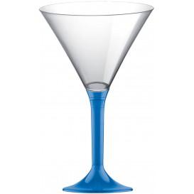 Martinigläser aus Plastik mit Blau Transp. Fuß 185ml (20 Stück)