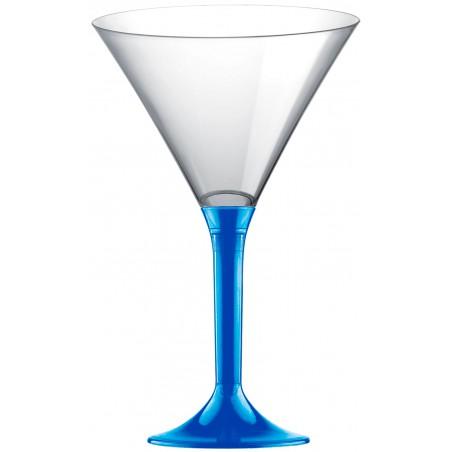 Martinigläser aus Plastik mit meerblauem Fuß 185ml 2T (20 Stück)