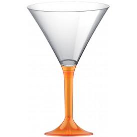 Martinigläser aus Plastik mit Orange Transp. Fuß 185ml (20 Stück)