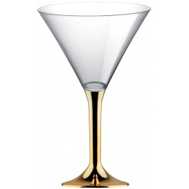 Martinigläser aus Plastik mit Gold Chrom Fuß 185ml (20 Stück)