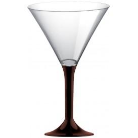 Martinigläser aus Plastik mit Braun Fuß 185ml (20 Stück)