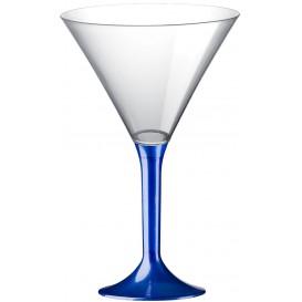 Martinigläser aus Plastik mit Blau Fuß 185ml (20 Stück)