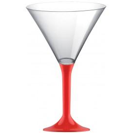 Martinigläser aus Plastik mit Rot Fuß 185ml (20 Stück)