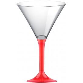 Martinigläser aus Plastik mit Rot Transp. Fuß 185ml (200 Stück)