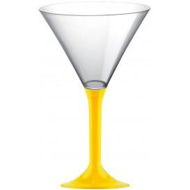 Martinigläser aus Plastik mit Gelb Fuß 185ml (20 Stück)