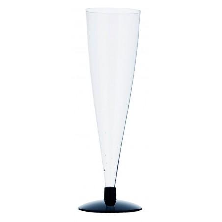 Sektflöte Plastik mit schwarzem Fuß 150ml (6 Stück)