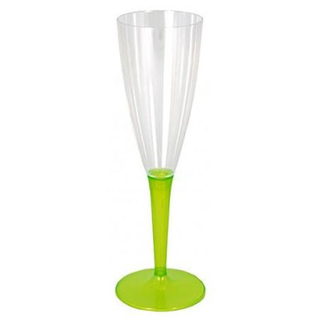 Sektflöte Plastik mit grünem Fuß 100ml (6 Stück)
